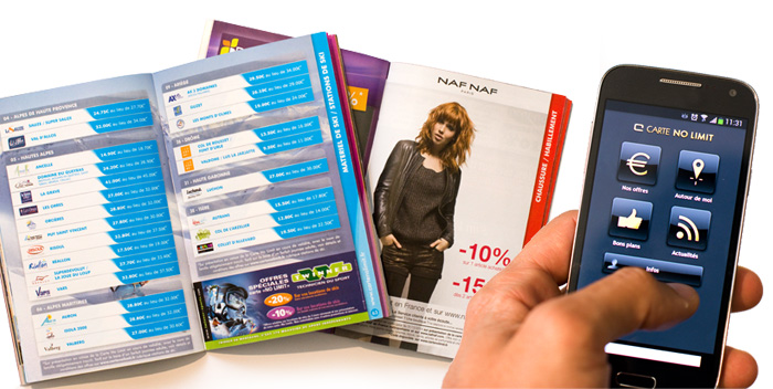Catalogue mise en page design application smartphon Carte No Limit