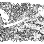 Horses Mother Earth Illustration Rotring Ink